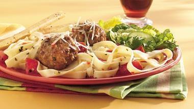 Italian Meatballs and Fettuccine