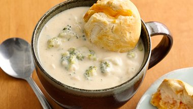 Broccoli Cheese Soup with Cheddar Bobbers