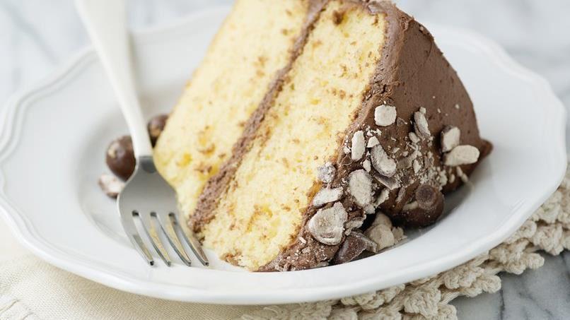 Yellow Cake with Chocolate Malt Buttercream