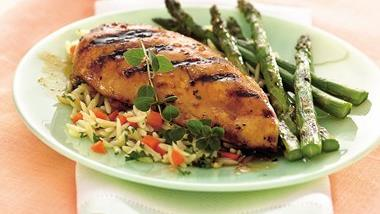 Grilled Chicken with Oregano Peach Sauce