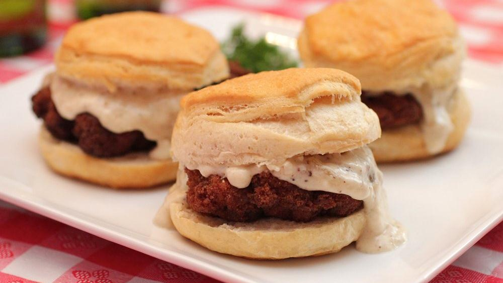 Chicken Fried Steak and Biscuit Sliders