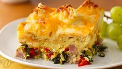 Ham, Spinach and Cheese Strata