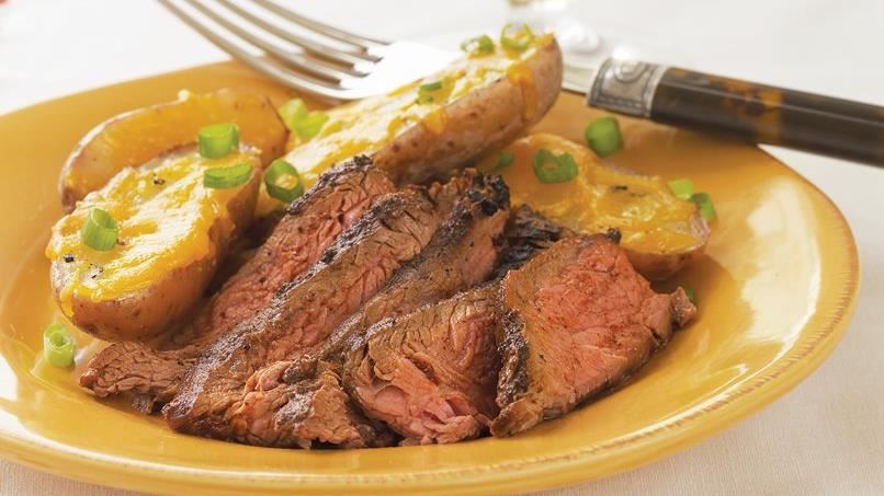 Cowboy Flank Steak with Potato Skins