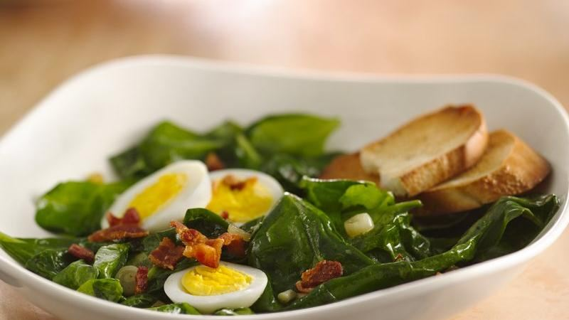 Spinach Bacon Salad with Hard Cooked Eggs