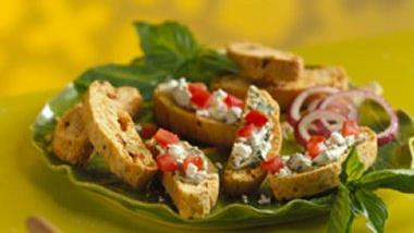 Sun-Dried Tomato Biscotti with Basil-Cream Cheese Topping