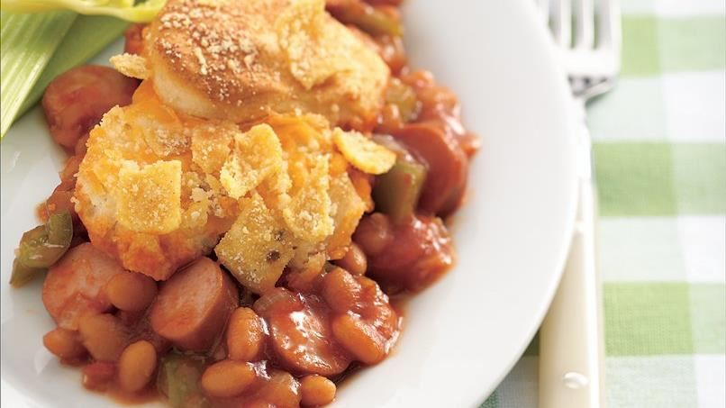 Frank and Bean Biscuit Casserole