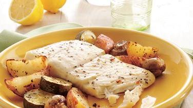 Garlic and Herb Halibut and Vegetables