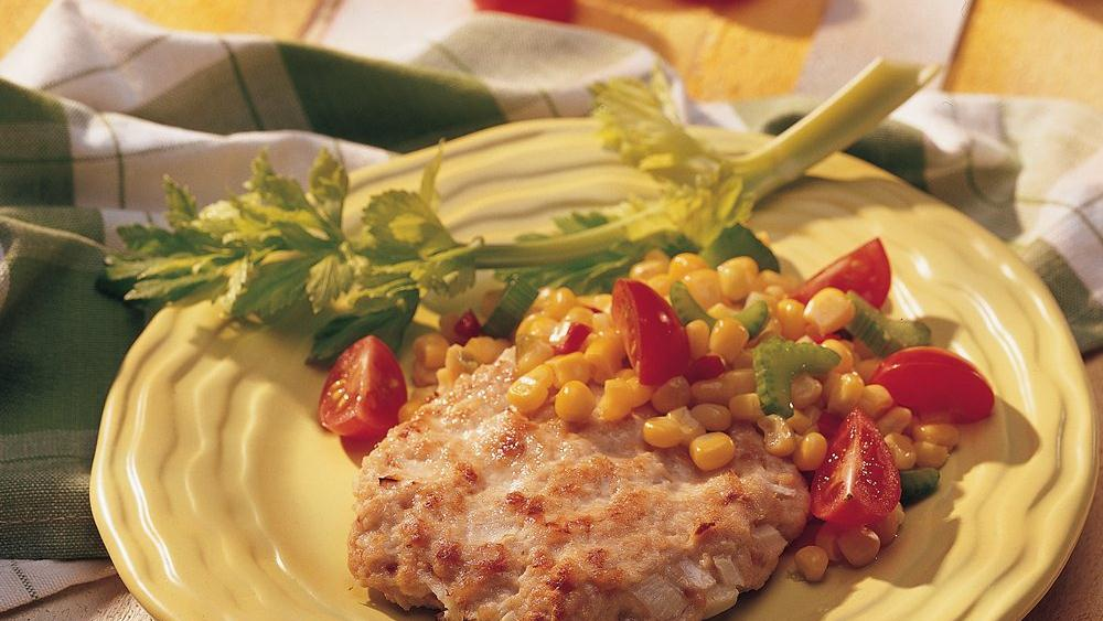 California-Style Turkey Patties with Corn and Tomato Relish