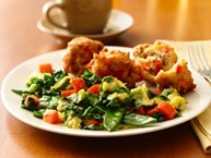 Breakfast Stir Fry with Sausage Fritters