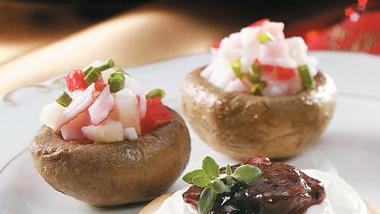 Teriyaki Seafood-Stuffed Mushrooms