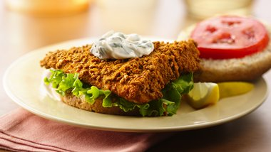 Fish Sandwiches with Lemon-Basil Mayo Sauce
