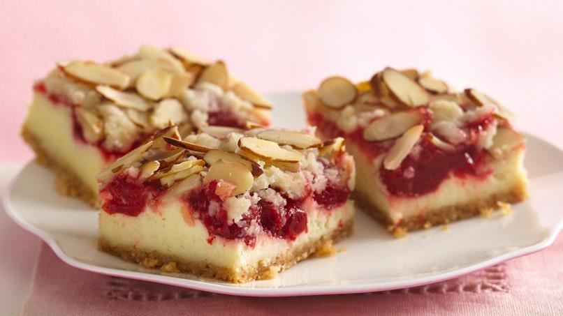 Almond Streusel-Cherry Cheesecake Bars