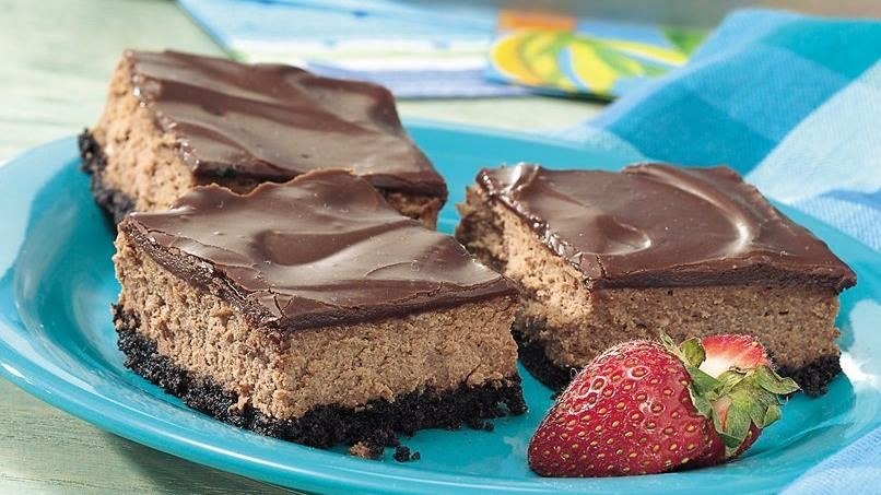 Fudge-Glazed Chocolate Cheesecake Bars