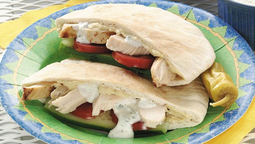 Greek Pocket Chicken Sandwiches