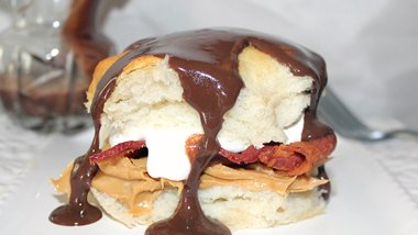 Bacon-Peanut Butter Biscuits with Chocolate Gravy