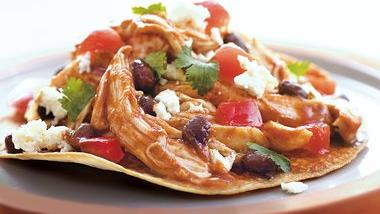 Chicken and Black Bean Tostadas