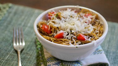 Pasta with Parsley Walnut Pesto and Pear Tomatoes