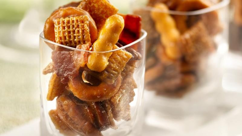 Bourbon Bacon Chex Mix recipe from Betty Crocker