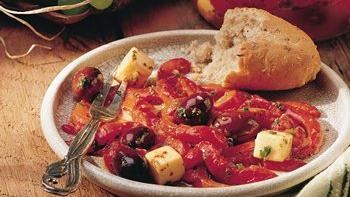 Marinated Roasted Peppers, Olives and Cheese