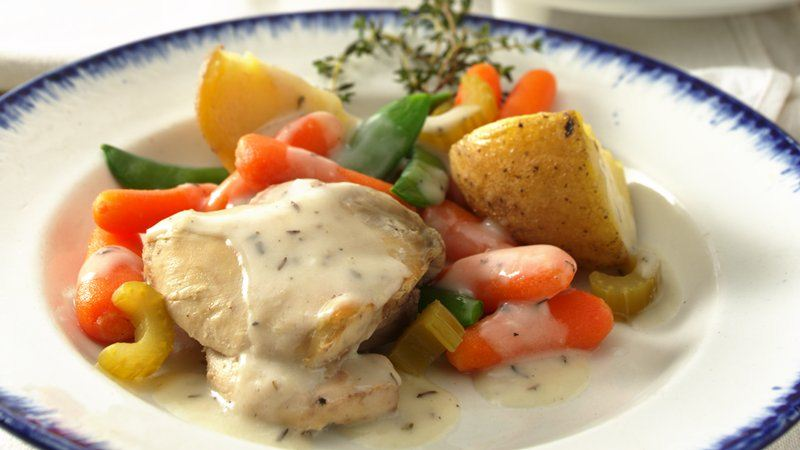 Slow-Cooker Creamy Herbed Chicken Stew (Cooking for 2)