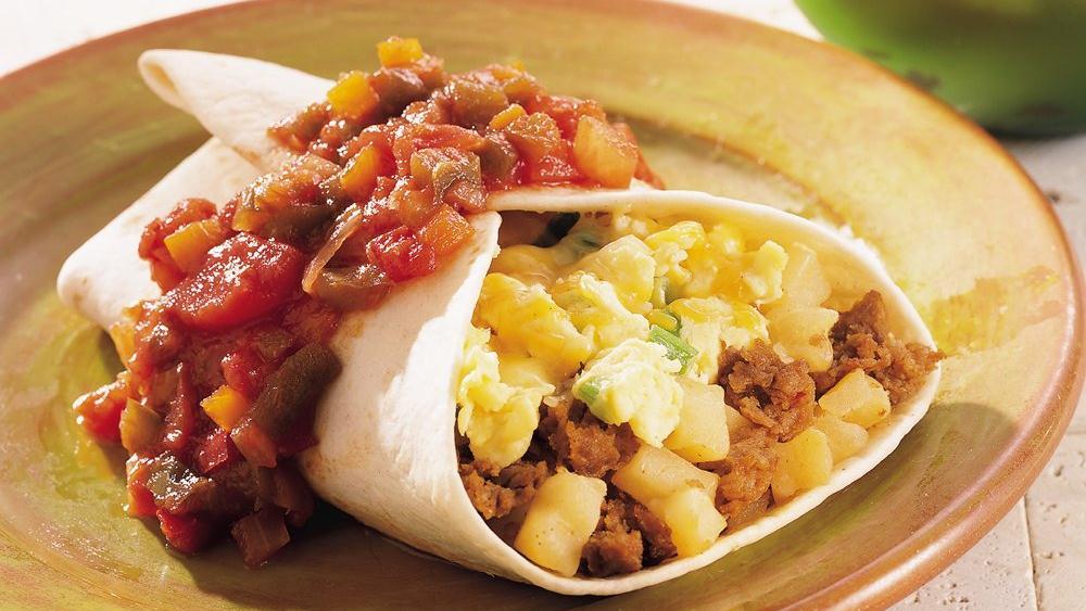 Chorizo and Egg Breakfast Burritos recipe from Pillsbury.com