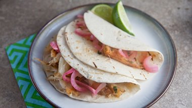 Grilled Fish Tacos with Spicy Pickled Onions
