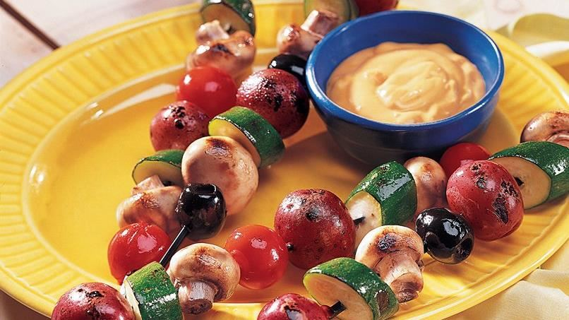 Vegetable Kabobs with Mexican Cheese Sauce