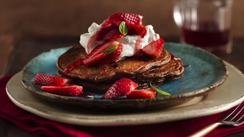 Double-Chocolate Strawberry Pancakes recipe from Betty Crocker