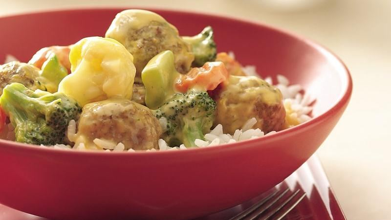 Cheesy Meatballs and Vegetables