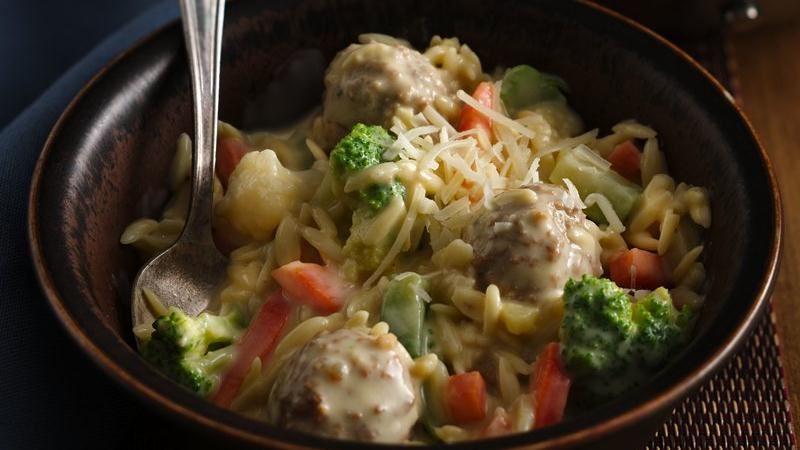 Creamy Orzo Meatball Bowls