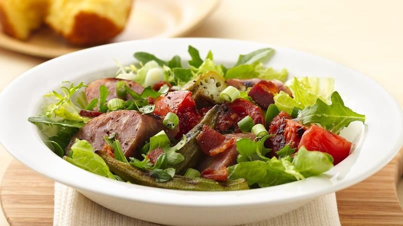 Grilled Sausage Okra and Tomato Salad