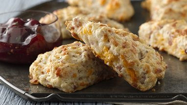 Ham and Cheddar Scones with Rosemary Cherry Sauce