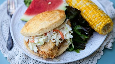 Fried Chicken Sandwich with Pineapple Slaw