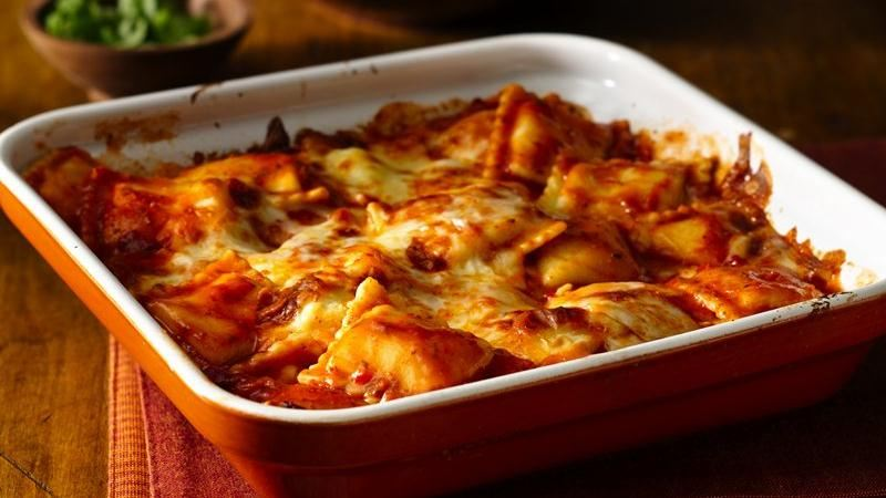 Fire Roasted Tomato Ravioli Bake