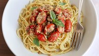 Roasted Tomato-Basil Spaghetti with Bread Crumbs