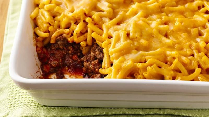 Mac and Cheese Topped Sloppy Joe Casserole