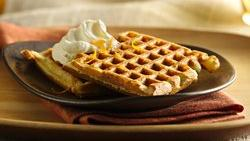 Chocolate Chip Waffles with Orange Cream