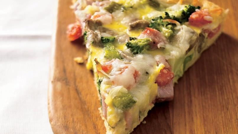 Ham and Eggs Crescent Brunch Pizza