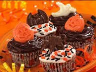 Brownie-Banana Halloween Cupcakes