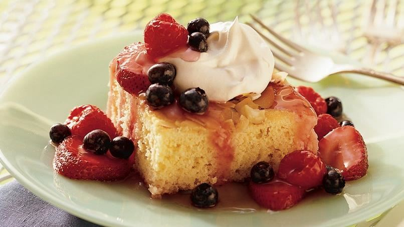 Almond Shortcake with Triple-Berry Sauce