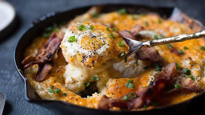 Cheesy Mashed Potato Egg Skillet Casserole recipe - from Tablespoon!