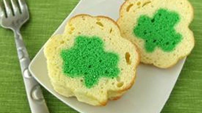 Mini Shamrock Reveal Pound Cakes Recipe From Tablespoon