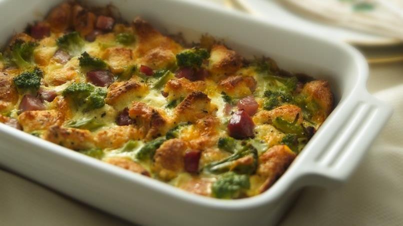 Broccoli and Ham Bread Pudding