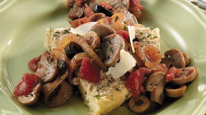 Arborio Rice Cake with Mushroom & Olive Ragout