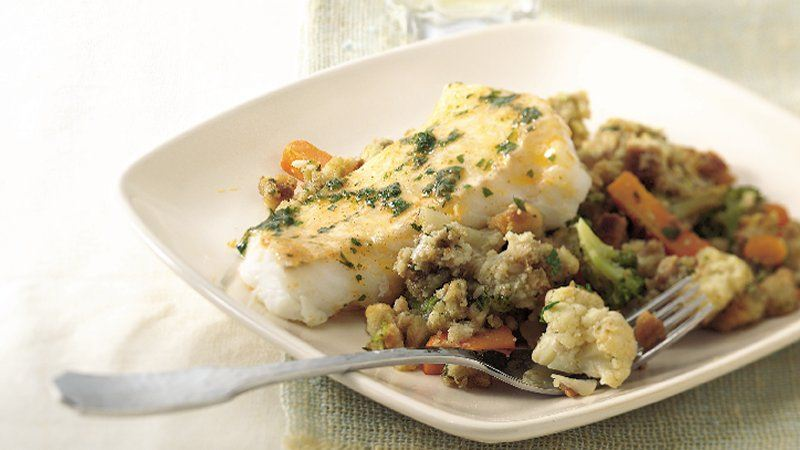 Baked Fish with Confetti Stuffing