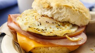 Ham, Egg and Cheese Breakfast Sandwiches