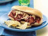 Spicy Barbecued Roast Beef Sandwiches