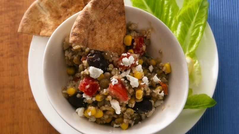 Slow-Cooker Mediterranean Bulgur and Lentils