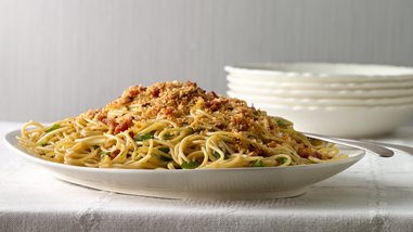 Spicy Spaghetti with Pancetta and Toasted Bread Crumbs
