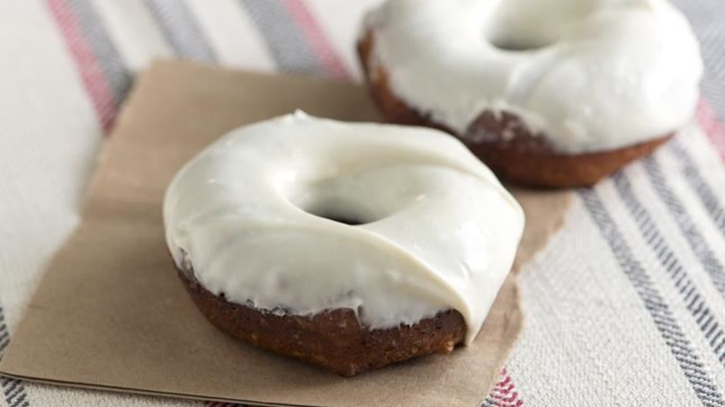 Cream Cheese and Bourbon Glazed Doughnuts